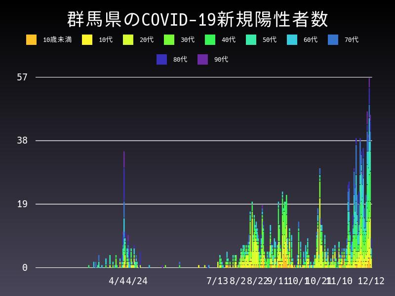 2020年12月12日 群馬県 新型コロナウイルス新規陽性者数 グラフ
