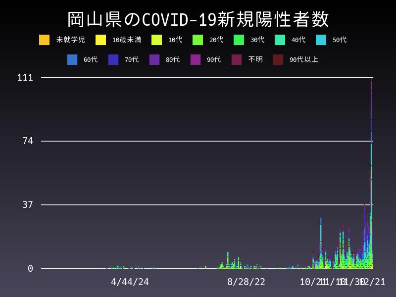 2020年12月21日 岡山県 新型コロナウイルス新規陽性者数 グラフ