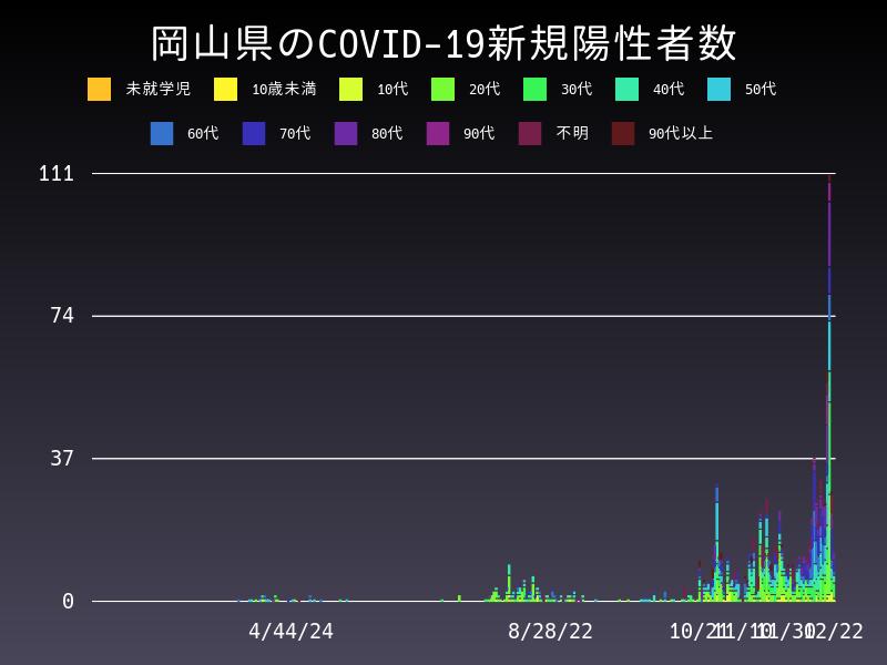 2020年12月22日 岡山県 新型コロナウイルス新規陽性者数 グラフ