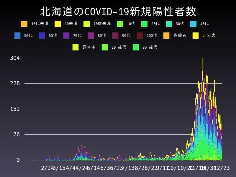 2020年12月23日 北海道 新型コロナウイルス新規陽性者数 グラフ