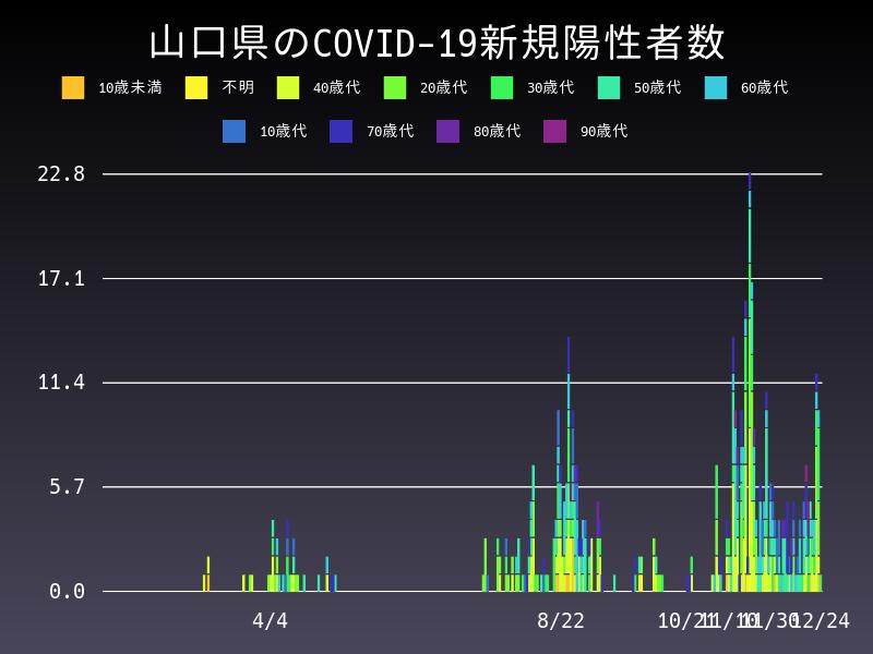 2020年12月24日 山口県 新型コロナウイルス新規陽性者数 グラフ