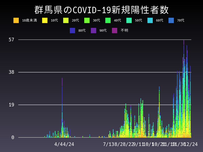 2020年12月24日 群馬県 新型コロナウイルス新規陽性者数 グラフ