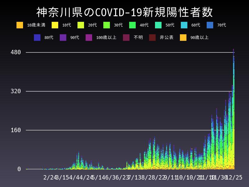 2020年12月25日 神奈川県 新型コロナウイルス新規陽性者数 グラフ