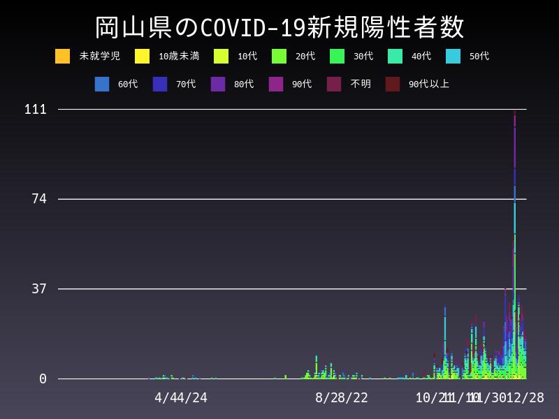 2020年12月28日 岡山県 新型コロナウイルス新規陽性者数 グラフ