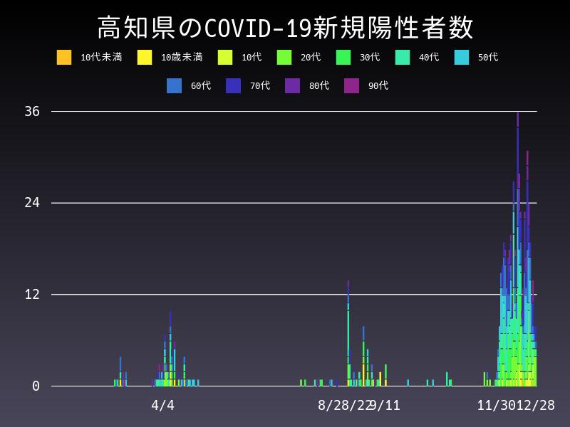 2020年12月28日 高知県 新型コロナウイルス新規陽性者数 グラフ