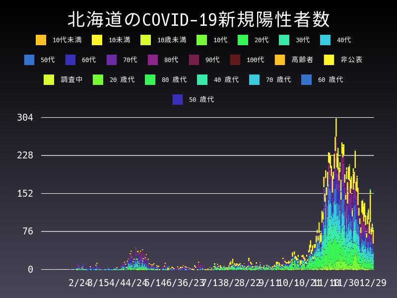 2020年12月29日 北海道 新型コロナウイルス新規陽性者数 グラフ
