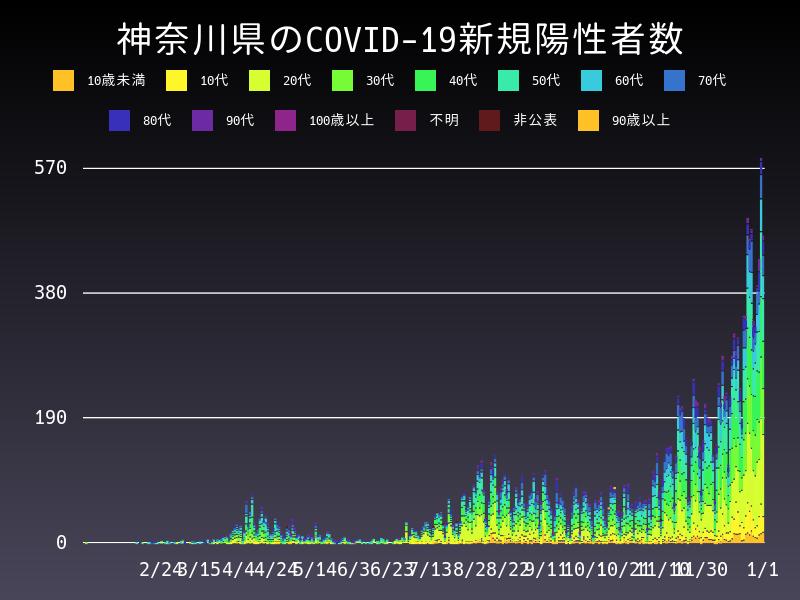 2021年1月1日 神奈川県 新型コロナウイルス新規陽性者数 グラフ