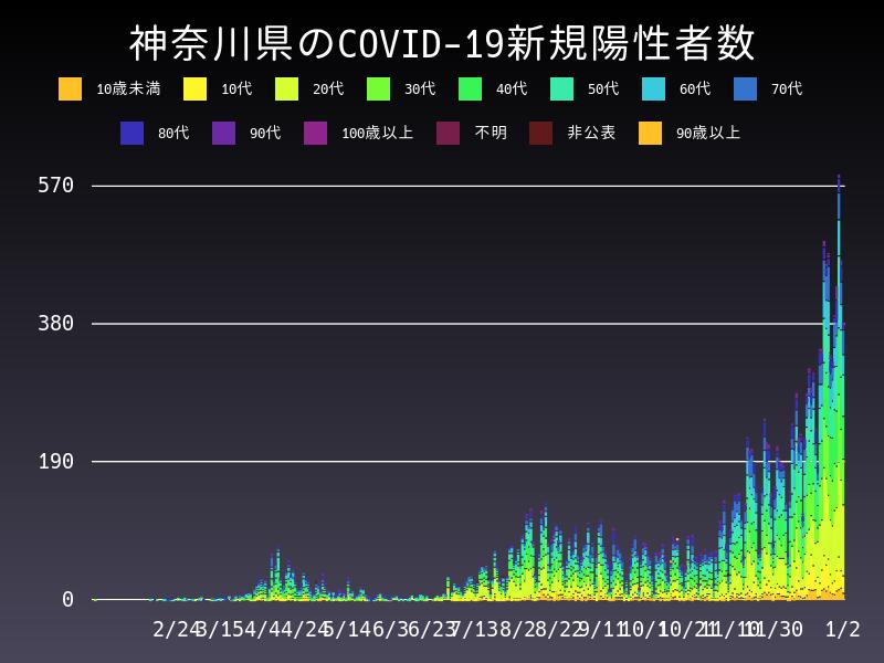 2021年1月2日 神奈川県 新型コロナウイルス新規陽性者数 グラフ