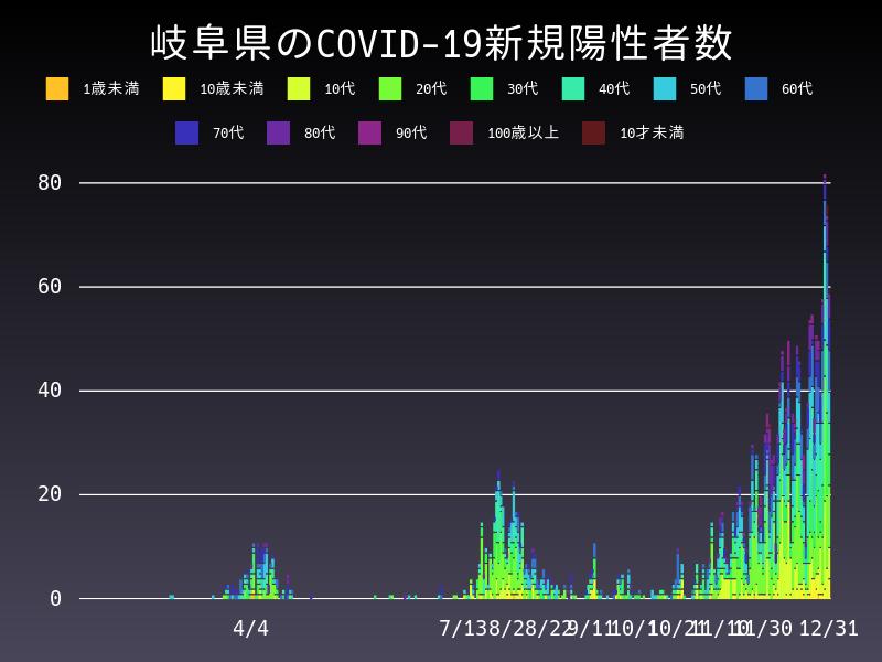 2020年12月31日 岐阜県 新型コロナウイルス新規陽性者数 グラフ