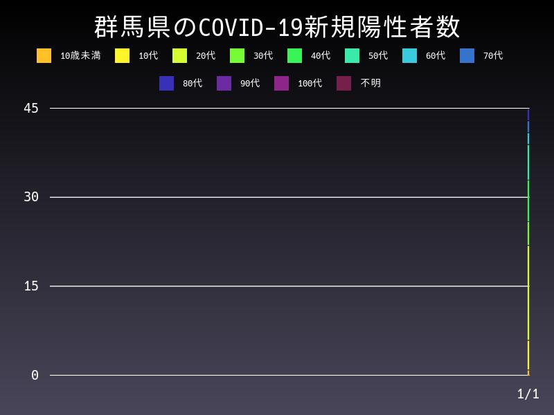 2021年1月1日 群馬県 新型コロナウイルス新規陽性者数 グラフ