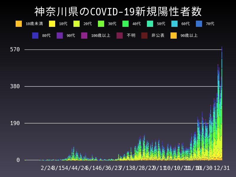 2020年12月31日 神奈川県 新型コロナウイルス新規陽性者数 グラフ
