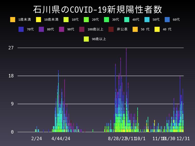 2020年12月31日 石川県 新型コロナウイルス新規陽性者数 グラフ