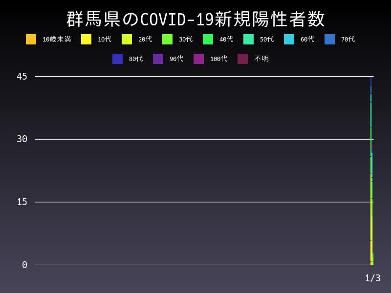 2021年1月3日 群馬県 新型コロナウイルス新規陽性者数 グラフ