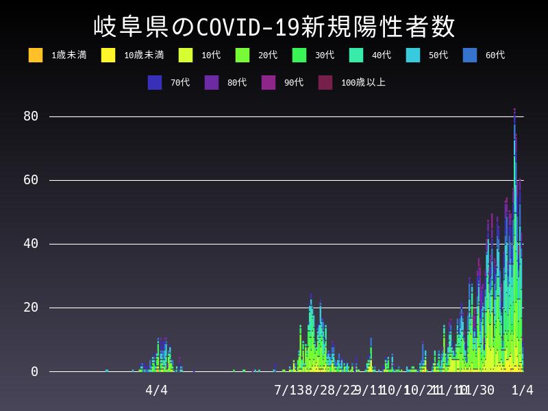 2021年1月4日 岐阜県 新型コロナウイルス新規陽性者数 グラフ