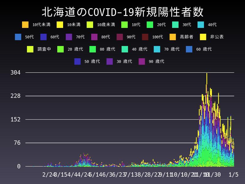 2021年1月5日 北海道 新型コロナウイルス新規陽性者数 グラフ