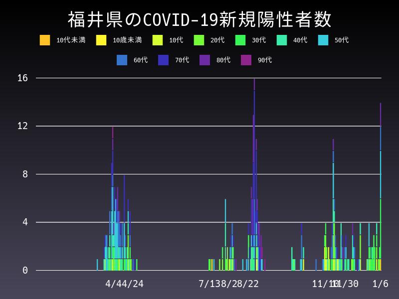 2021年1月6日 福井県 新型コロナウイルス新規陽性者数 グラフ