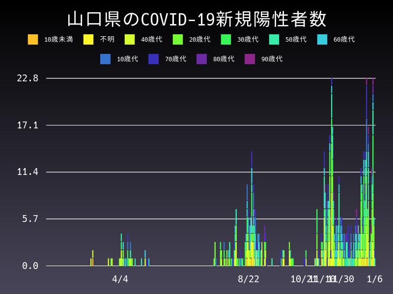 2021年1月6日 山口県 新型コロナウイルス新規陽性者数 グラフ