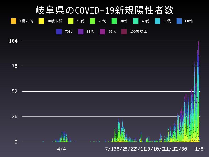 2021年1月8日 岐阜県 新型コロナウイルス新規陽性者数 グラフ