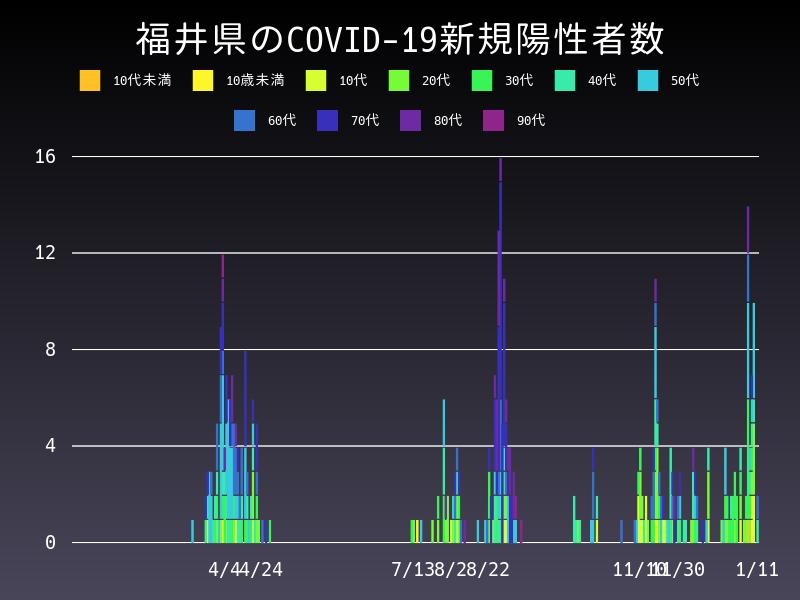 2021年1月11日 福井県 新型コロナウイルス新規陽性者数 グラフ
