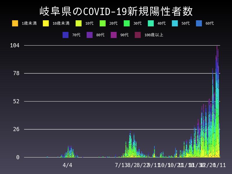 2021年1月11日 岐阜県 新型コロナウイルス新規陽性者数 グラフ