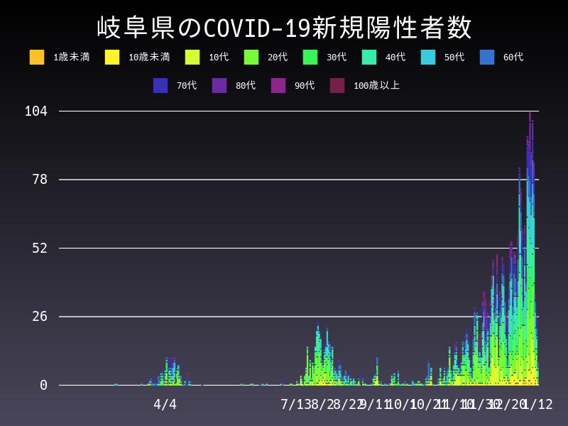 2021年1月12日 岐阜県 新型コロナウイルス新規陽性者数 グラフ