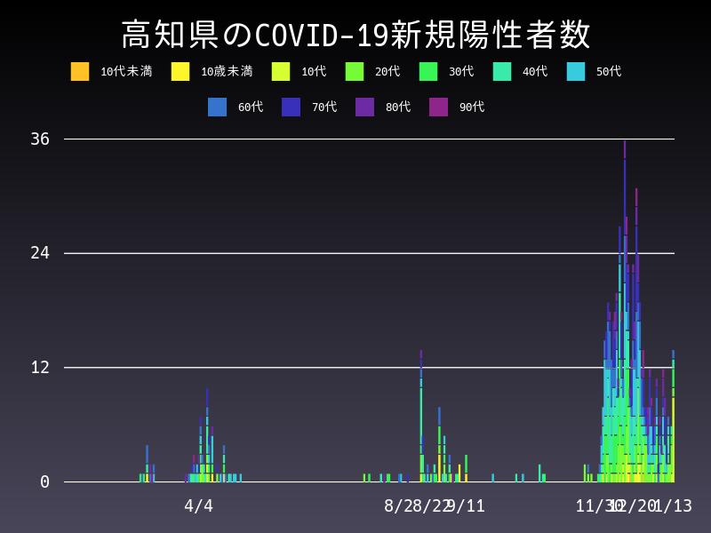 2021年1月13日 高知県 新型コロナウイルス新規陽性者数 グラフ