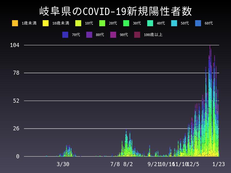 2021年1月23日 岐阜県 新型コロナウイルス新規陽性者数 グラフ