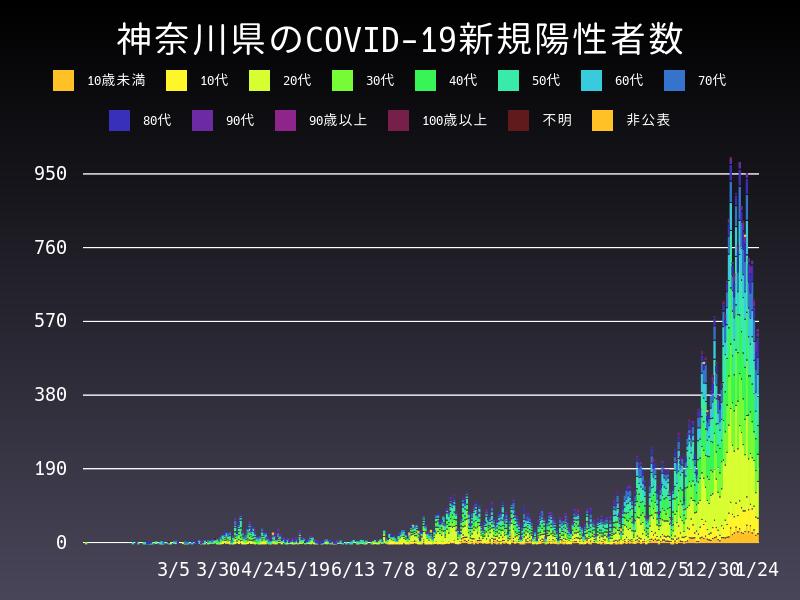 2021年1月24日 神奈川県 新型コロナウイルス新規陽性者数 グラフ
