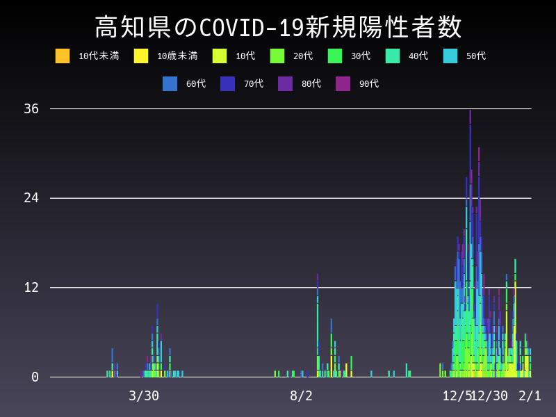2021年2月1日 高知県 新型コロナウイルス新規陽性者数 グラフ