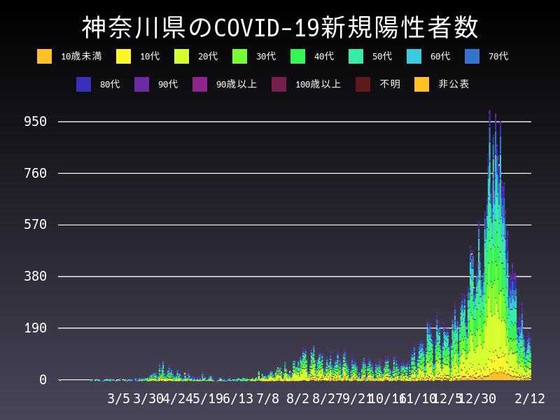 2021年2月12日 神奈川県 新型コロナウイルス新規陽性者数 グラフ
