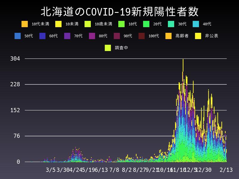 2021年2月13日 北海道 新型コロナウイルス新規陽性者数 グラフ