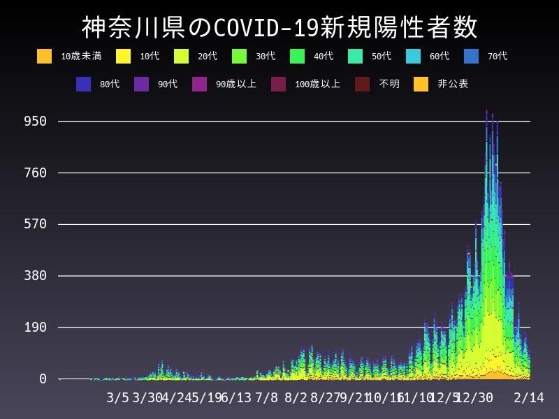 2021年2月14日 神奈川県 新型コロナウイルス新規陽性者数 グラフ