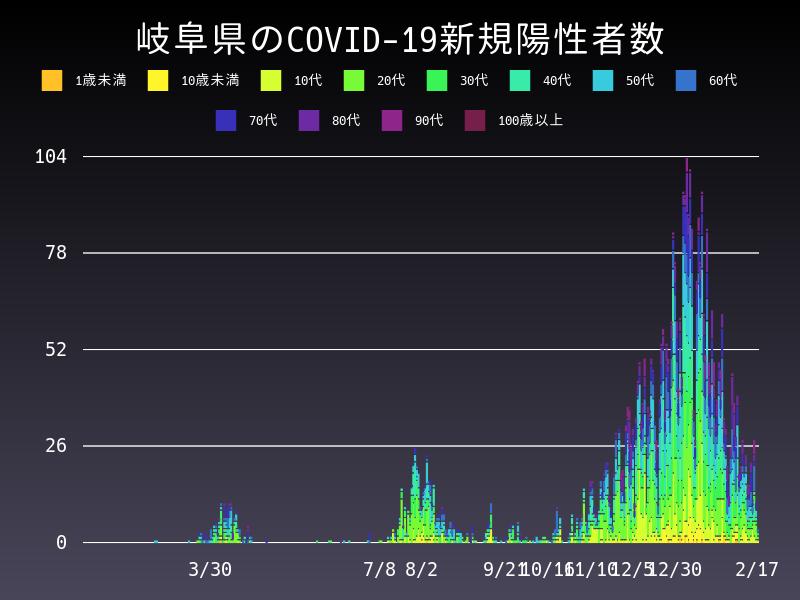 2021年2月17日 岐阜県 新型コロナウイルス新規陽性者数 グラフ