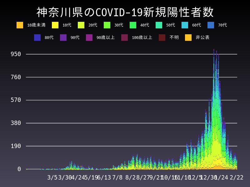 2021年2月22日 神奈川県 新型コロナウイルス新規陽性者数 グラフ