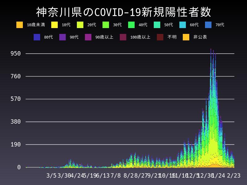 2021年2月23日 神奈川県 新型コロナウイルス新規陽性者数 グラフ
