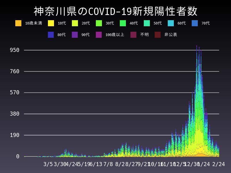 2021年2月24日 神奈川県 新型コロナウイルス新規陽性者数 グラフ