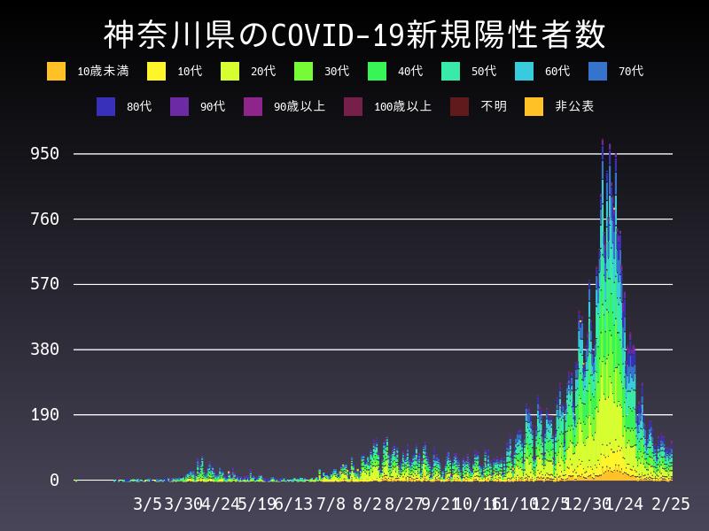 2021年2月25日 神奈川県 新型コロナウイルス新規陽性者数 グラフ