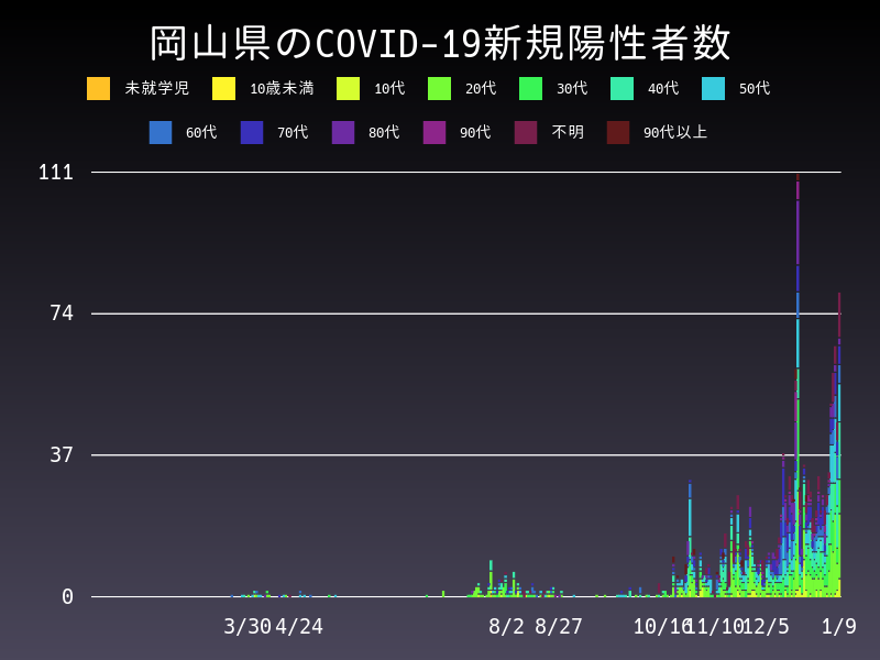 2021年1月9日 岡山県 新型コロナウイルス新規陽性者数 グラフ