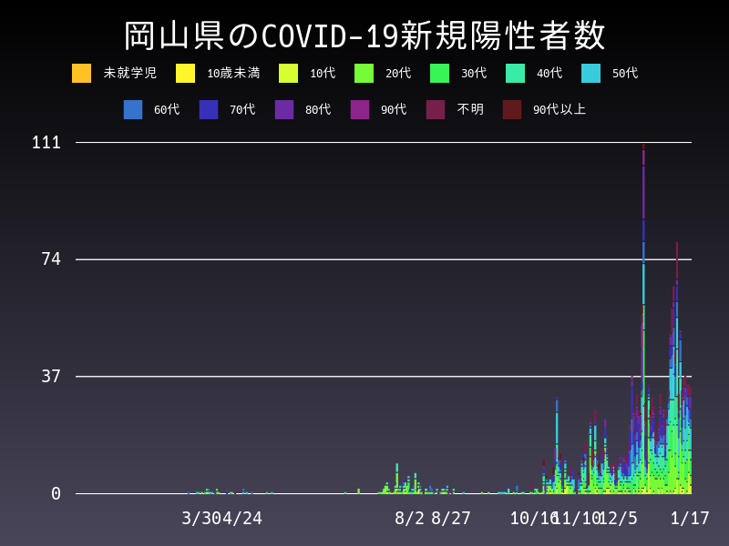 2021年1月17日 岡山県 新型コロナウイルス新規陽性者数 グラフ