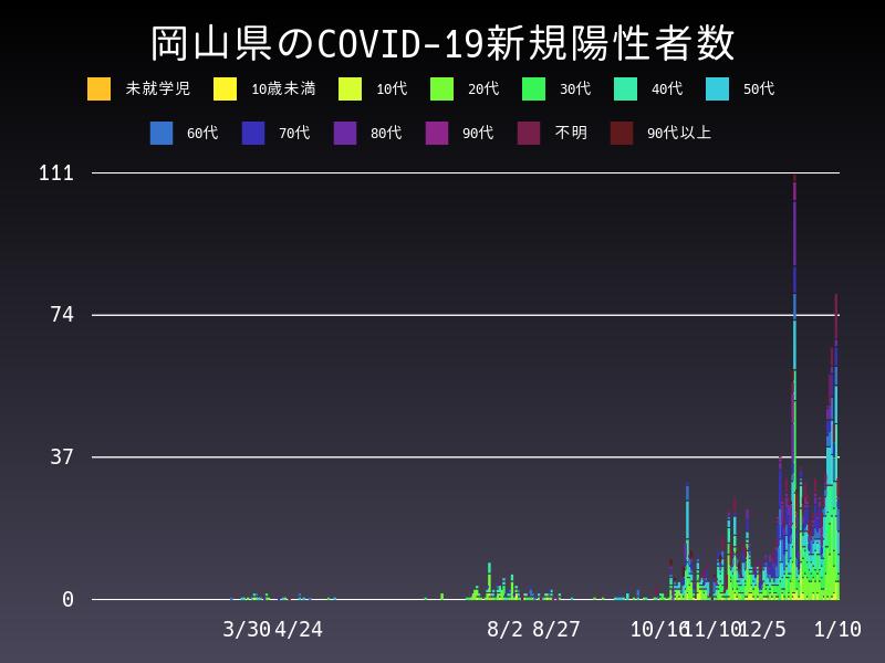 2021年1月10日 岡山県 新型コロナウイルス新規陽性者数 グラフ