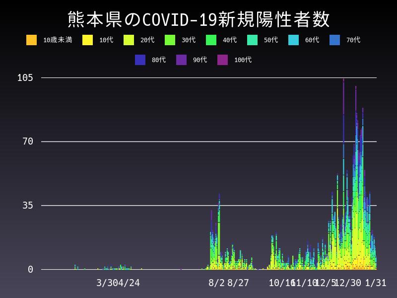 2021年1月31日 熊本県 新型コロナウイルス新規陽性者数 グラフ