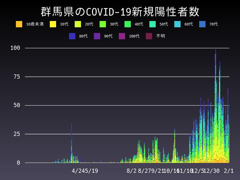 2021年2月1日 群馬県 新型コロナウイルス新規陽性者数 グラフ