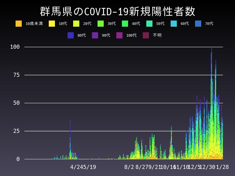 2021年1月28日 群馬県 新型コロナウイルス新規陽性者数 グラフ