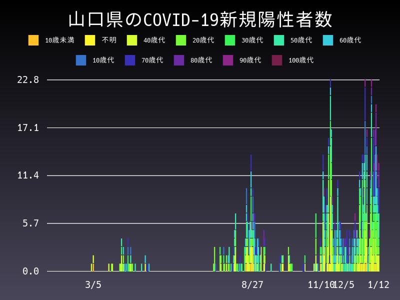 2021年1月12日 山口県 新型コロナウイルス新規陽性者数 グラフ