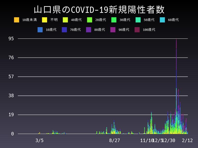 2021年2月12日 山口県 新型コロナウイルス新規陽性者数 グラフ