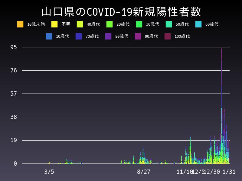 2021年1月31日 山口県 新型コロナウイルス新規陽性者数 グラフ