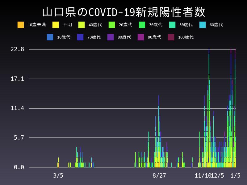 2021年1月5日 山口県 新型コロナウイルス新規陽性者数 グラフ
