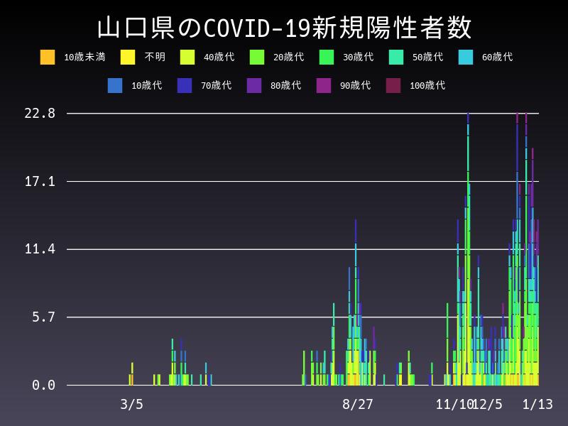 2021年1月13日 山口県 新型コロナウイルス新規陽性者数 グラフ