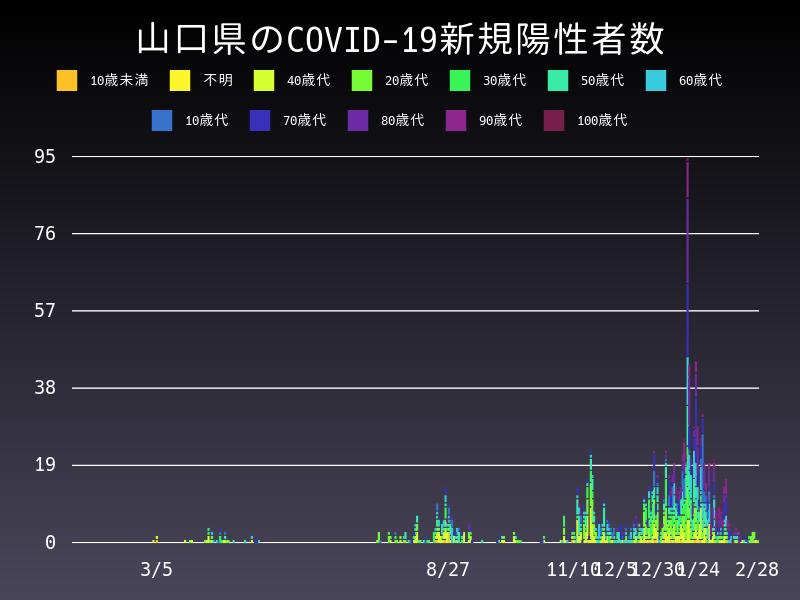 2021年2月28日 山口県 新型コロナウイルス新規陽性者数 グラフ