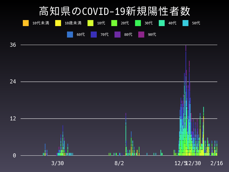 2021年2月16日 高知県 新型コロナウイルス新規陽性者数 グラフ